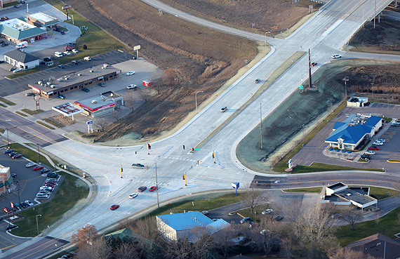 Intersection constructed by Civil Ag Group, at the corner of  Lor Ray Drive and Commerce Drive, North Mankato.