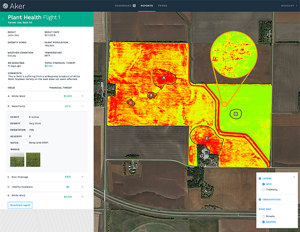 Aker software provides detailed field maps pinpointing problem areas.
